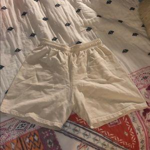 Trendy Cream Sweat Shorts
